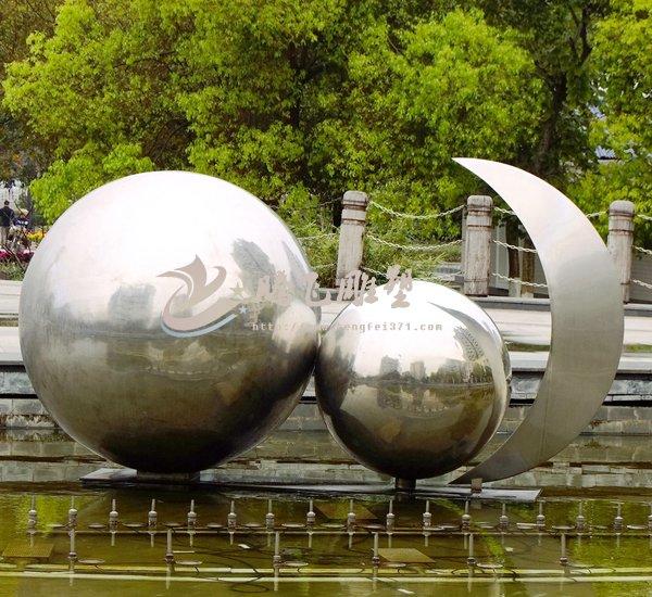 太阳地球月亮主题不锈钢雕塑